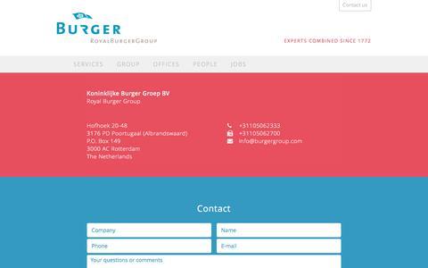Screenshot of Contact Page royalburgergroup.com - Contact - Royal Burger Group - captured Dec. 1, 2016