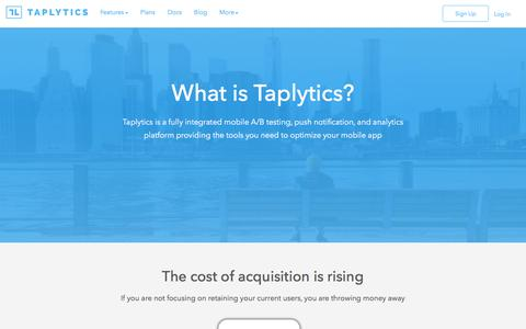 Screenshot of About Page taplytics.com - What is Taplytics - captured Dec. 18, 2015