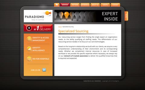 Screenshot of Support Page paradigmo.com - Specialized Sourcing - Paradigmo - captured Sept. 30, 2014
