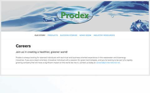 Screenshot of Jobs Page prodexproducts.com - Careers — Prodex - captured Jan. 15, 2018