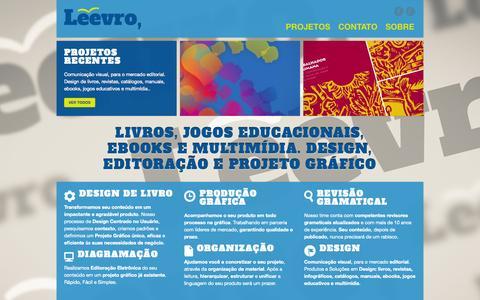 Screenshot of Home Page leevro.com.br - Leevro | Design de Livros,  Ebooks, Diagramação, Produção Editorial, Multimidia - captured Oct. 2, 2014