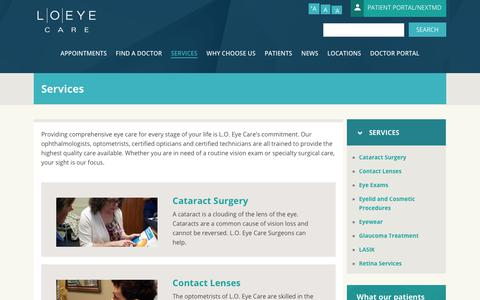 Screenshot of Services Page loeye.com - Services   L.O. Eye Care - captured July 16, 2017
