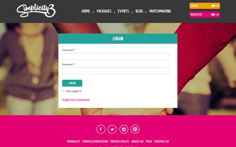 Screenshot of Login Page simplicity3.co.uk - Login to Simplicity3 - Personal Online Dating - captured Oct. 26, 2014