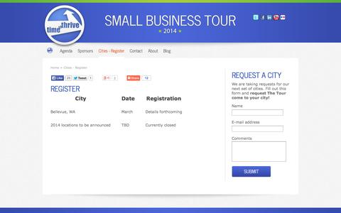Screenshot of Locations Page thesmallbusinesstour.com - Small Business Tour 2012- Cities & Dates - Grow Your Small Business - captured Oct. 26, 2014