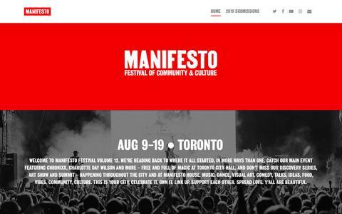Screenshot of Home Page mnfsto.com - Manifesto Festival Vol. 12 - MANIFESTO - captured Oct. 2, 2018