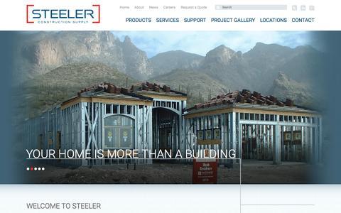 Screenshot of Home Page steeler.com - Metal Stud Framing | Gypsum Supply | Steeler Construction Supply - captured Feb. 17, 2016