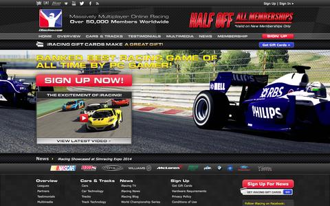 Screenshot of Home Page iracing.com - Online Racing - What is iRacing | iRacing.com - captured Sept. 18, 2014