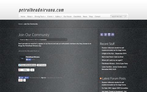 Screenshot of Signup Page petrolheadnirvana.com - Join Our Community | Petrolhead Nirvana - captured Oct. 2, 2014