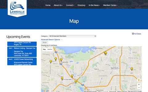 Screenshot of Maps & Directions Page lewisvillechamber.org - Map - Lewisville Area Chamber of Commerce, TX - captured Jan. 28, 2016