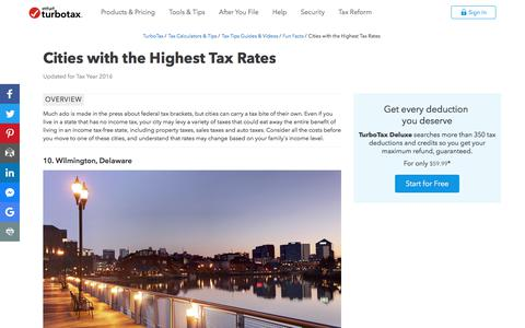 Screenshot of Pricing Page intuit.com - Cities with the Highest Tax Rates - TurboTax Tax Tips & Videos - captured Nov. 21, 2019