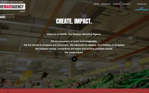 Screenshot of Home Page marslondon.co.uk - THE MARS AGENCY Shopper Marketing Agency - captured May 25, 2017