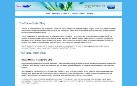 Screenshot of About Page fluorofinder.com - FluoroFinder® - captured Oct. 6, 2014