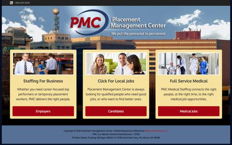 Screenshot of Home Page pmcworks.com - Employment Agencies | Temp Agencies | Staffing Companies | Flint, MI | Genesee County | Staffing Companies - captured Nov. 7, 2016