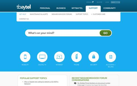 Screenshot of Support Page tbaytel.net - Get Help - captured Nov. 4, 2014