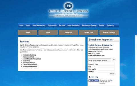 Screenshot of Services Page teamlbr.com - Commercial Real Estate Services in Melbourne FL | Team LBR - captured Jan. 29, 2016