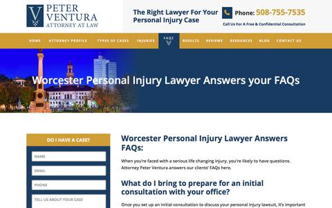 Screenshot of FAQ Page peterventuralaw.com - Personal Injury FAQs | Worcester, MA | Attorney At Law - captured July 20, 2017