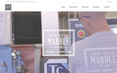 Screenshot of Home Page slmarble.com - San Luis Marble - Central Coast Tile, Granite, & Quartz - captured Sept. 16, 2015