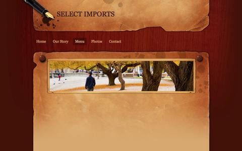 Screenshot of Menu Page selectimports.ca - Menu - SELECT IMPORTS - captured June 11, 2017