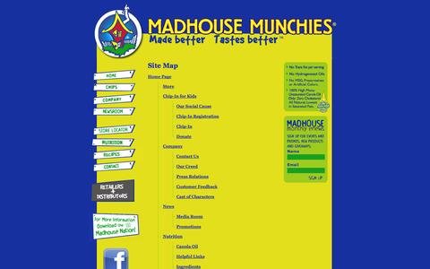 Screenshot of Site Map Page madhousemunchies.com - Madhouse Munchies - Home - captured Sept. 30, 2014