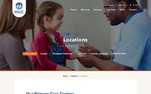 Screenshot of Locations Page hucweb.co.uk - HUC Locations - captured Sept. 28, 2018