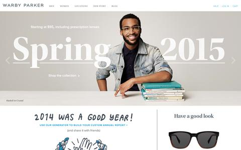 Screenshot of Home Page warbyparker.com - Online Eyeglasses & Sunglasses - Rx Glasses | Warby Parker - captured Jan. 14, 2015