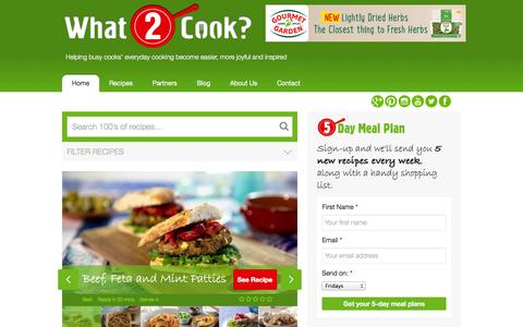 Screenshot of Home Page what2cook.com - What2Cook |  Helping busy cooks' everyday cooking become easier, more joyful and inspired - captured Sept. 30, 2014