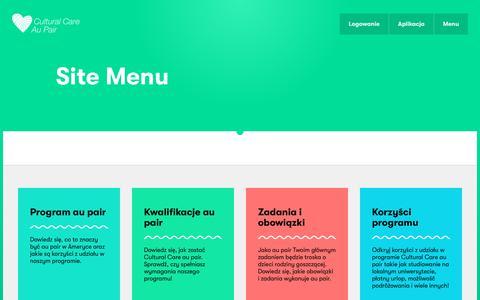 Screenshot of Menu Page culturalcare.pl - Site Menu | Cultural Care - captured March 5, 2018