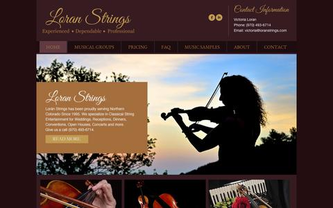 Screenshot of Home Page loranstrings.com - Welcome to Loran Strings! - Loran Strings - captured Sept. 30, 2014