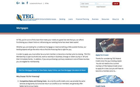 Screenshot of tegfcu.com - Mortgages – TEG Federal Credit Union - captured Dec. 2, 2017