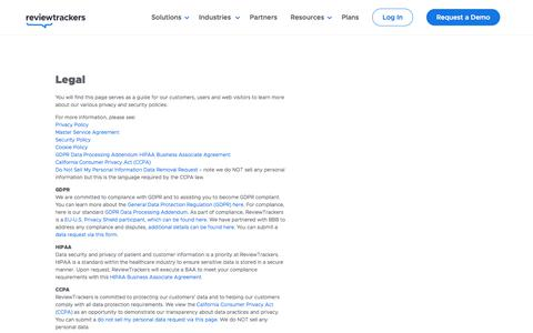 Screenshot of Terms Page reviewtrackers.com - Terms of Service   ReviewTrackers - captured Jan. 15, 2020