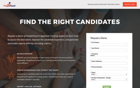 Screenshot of Landing Page peoplefluent.com - Applicant Tracking System| PeopleFluent - captured Sept. 22, 2017