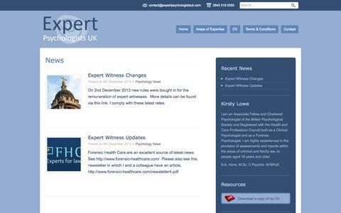 Screenshot of Press Page expertpsychologistsuk.com - News | Expert Psychologists UK - captured Sept. 30, 2014