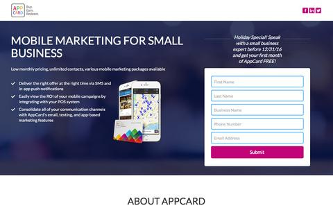 Screenshot of Landing Page appcard.com - Mobile Marketing for small business - captured Dec. 29, 2016