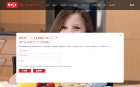 Screenshot of Signup Page bays.com - Bays English Muffins: Want to learn more? - captured Oct. 5, 2014