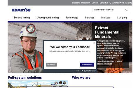 Screenshot of Home Page mining.komatsu - Home   Komatsu Mining Corp. - captured Feb. 14, 2019