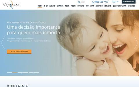 Screenshot of Home Page cryopraxis.com.br - Cryopraxis | O maior banco privado de sangue de cordão umbilical do Brasil. - captured Sept. 12, 2017