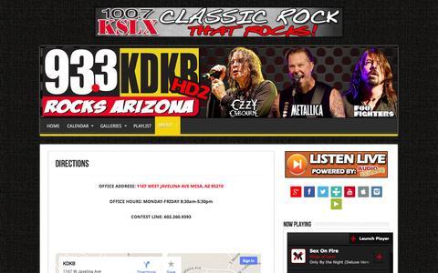 Screenshot of Maps & Directions Page kdkb.com - Directions | 93.3 KDKB | KDKB ROCKS ARIZONA - captured Oct. 4, 2014