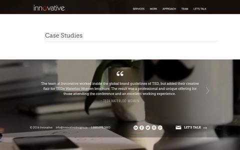 Screenshot of Case Studies Page innovativedesigns.ca - Case Studies - Innovative Design - captured Feb. 11, 2016