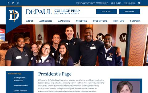 Screenshot of About Page depaulprep.org - President's Page - DePaul College Prep - captured Feb. 12, 2018