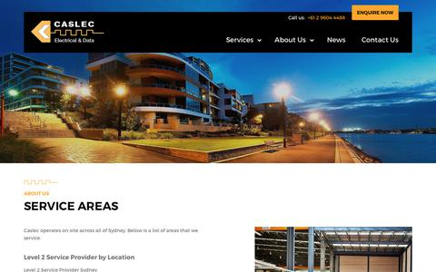 Screenshot of Locations Page caslec.com.au - Service Areas | Caslec Electrical Contractors - captured Nov. 21, 2018