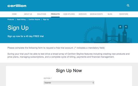 Screenshot of Signup Page cerillion.com - Recurring Billing Free Trial | Subscription Billing Sign Up | Cerillion - captured Sept. 18, 2016