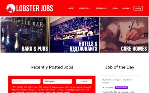 Screenshot of Home Page lobsterjobs.co.uk - Find your perfect Catering or Hospitality job - captured July 24, 2015