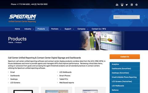 Screenshot of Products Page specorp.com - Contact Center Digital Signage & Dashboards | Spectrum Corp. - captured Oct. 18, 2018