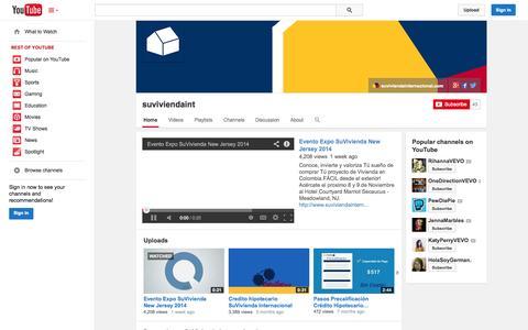 Screenshot of YouTube Page youtube.com - suviviendaint  - YouTube - captured Nov. 5, 2014