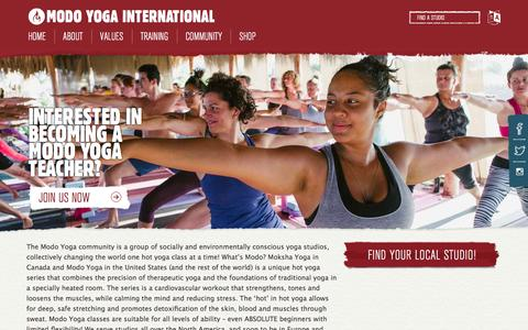 Screenshot of Home Page modoyoga.com - Home Page - Modo Yoga International - captured Jan. 17, 2016