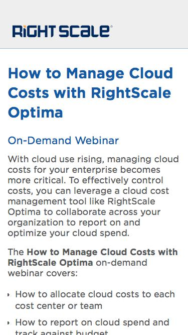 How to Manage Cloud Costs with RightScale Optima