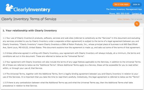 Screenshot of Terms Page clearlyinventory.com - Terms and Conditions - Clearly Inventory - captured May 18, 2017
