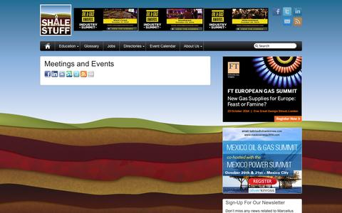 Screenshot of Press Page shalestuff.com - Meetings and Events - captured Oct. 7, 2014