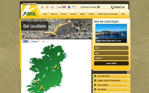 Screenshot of Locations Page arkil.ie - Road Engineering   Bitumen Asphalt   Arkil Locations   Arkil - captured Oct. 4, 2014
