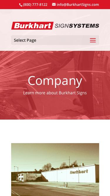 Screenshot of Jobs Page Team Page Locations Page  burkhartsigns.com - Company - Burkhart Signs